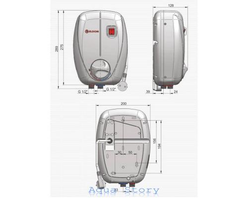 ELDOM, водонагрівач проточний Betta 6,5kw душ + кран 72486C