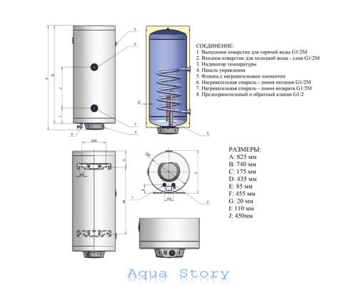ELDOM, водонагреватель комбинированный Thermo 80 72265GTR