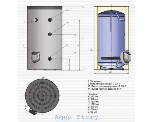 ELDOM, водонагрівач підлоговий Titan FV30067 300 л