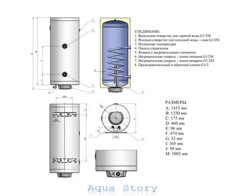 ELDOM, водонагреватель комбинированный Thermo 150 72280GTR
