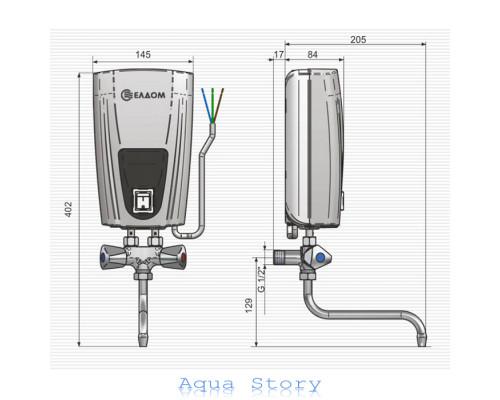 ELDOM, водонагреватель проточный ELDOM 3,5kw кран E41