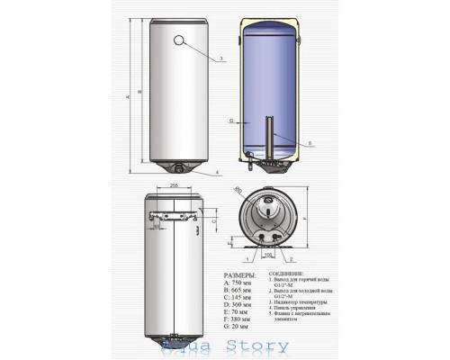 ELDOM, водонагреватель Style 50 SLIM 72267W