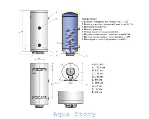 ELDOM, водонагрівач комбінований Thermo 80 SLIM 72268GT