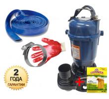 Фекальний насос Grand water WQD-C-13-10 з ножем 2.5 кВт +10м шланг +хомут +рукавички +Силушка 100гр