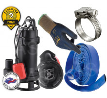 Фекальный насос Koer WQD 20 -15-1,5 FREZA (KP2664) +10м шланг +хомут +перчатки +Силушка 100гр