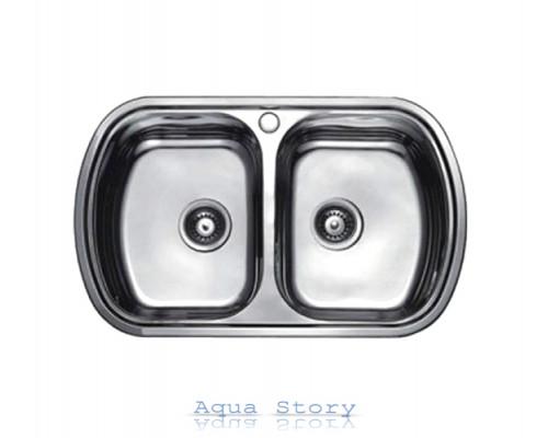 Кухонна мийка Haiba 80x49 DOUBLE SATIN