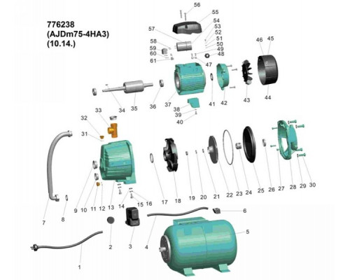 Насосная станция с внешним эжектором 0.75кВт HSmax 35м Hmax 50м Qmax 30л/мин (внеш эжектор Ø96мм) 24л Leo 3.0 (776238)