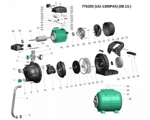 Насосная станция 1.3кВт Hmax 48м Qmax 80л/мин (самовсас. насос) 24л Leo (776205)
