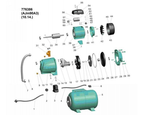 Насосная станция 0.9кВт Hmax 48м Qmax 85л/мин (самовсас. насос) 24л Leo 3,0 (776386)