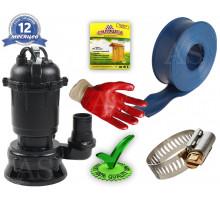 Дренажно-фекальный насос DRF750 Rudes +10м шланг +хомут +рукавички +Силушка 100гр