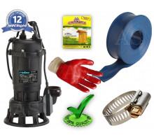 Дренажно-фекальный насос DRF1500CUTF Rudes +10м шланг +хомут +перчатки +Силушка 100гр